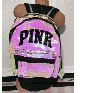 VS Pink Iridescent Flip Bling Campus Backpack
